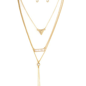 Gigi Triple Layer Bar & Pave Triangle Pendant Necklace Set in Gold