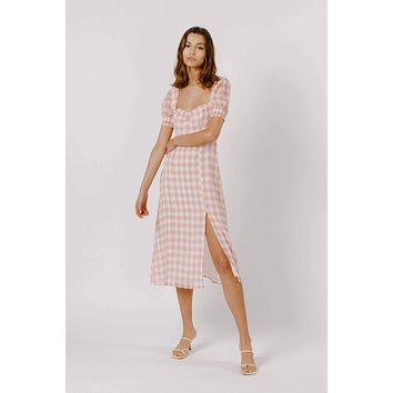 Gingham Sheer Midi Dress