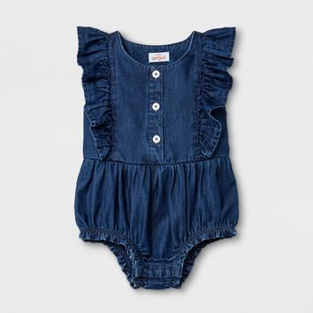 Baby Girls' Romper - Cat & Jack™ Medium Denim Wash