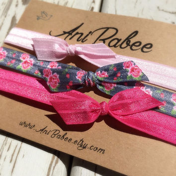 Tie knot baby headbands, baby headband set, shabby chic print, bow headbands, headbands for infants, toddlers and teens
