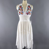 Vintage White Cotton Gauze Embroidered Mexican Halter Dress