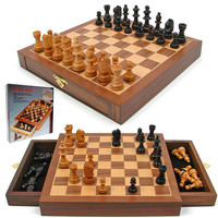 Inlaid Walnut-Style Magnetized Wood Chess Set by Trademark Games - Traditional - Board Games And Card Games - by Trademark Global