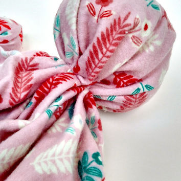 "Soothing Toy - New Baby Gift - Handmade Doll - Aztec Print - Boho Chic - Pink Feather Print - 100% Cotton Flannel Fabric - 11 - 12"" Tall"
