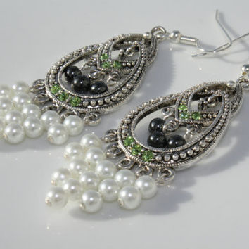 Silver Color Chandelier Earrings with Green Crystals, Metallic Hematite Beads, and White Pearl Beads