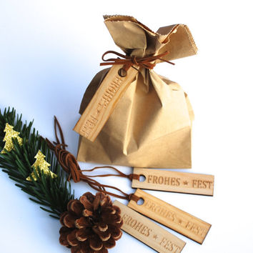 Gift, gift tag, wooden, 4er Set, christmas season, Frohes Fest, leather strap, christmas decoration