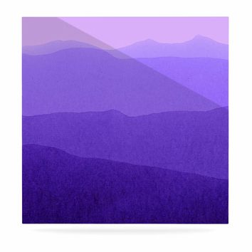 "Iris Lehnhardt ""Gradient Landscape"" Purple Pink Abstract Nature Painting Watercolor Luxe Square Panel"