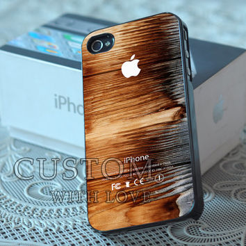Burning Wood Apple Logo- Rubber or Plastic Print Custom - iPhone 4/4s, 5 - Samsung S3 i9300, S4 i9500 - iPod 4, 5