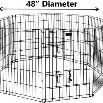 """Ultimate Folding Dog Animal Pet Playpen Metal Black Wire Enclosure Fence Exercise Popup Kennel Crate Tent Portable 24"""" 30"""" 36"""" 42"""" 48"""""""