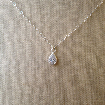 Solitaire Diamond Necklace, CZ Necklace, Teardrop Diamond, Pear Shaped CZ, Sterling Silver Solitaire Necklace, CZ Solitaire, Diamond Drop