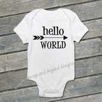 Newborn Shirt Hello World Bodysuit Newborn Baby Shower Gift New Baby Birth Announcement Coming Home Outfit Hospital Photo Prop 028