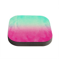 "Monika Strigel ""Sunny Melon"" Aqua Magenta Coasters (Set of 4)"