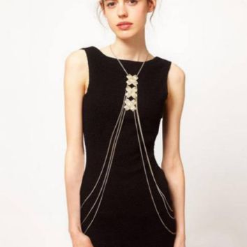 Cross metal multi - layer body chain conjoined necklace