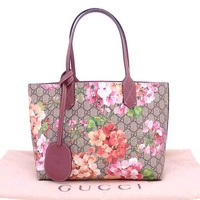Auth Gucci GG Blossoms Tote Shoulder Bag Brown/Pink PVC/Leather *MINT* - e30599