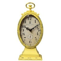 Creative Co-op Metal Rustic Retro Table Clock, Yellow