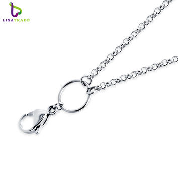 26/30 inch Silver 316 Stainless steel chain necklace, rolo chain for floating locket pendant necklace High quality LSCH03-1