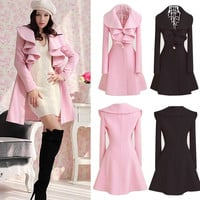 Women Ladies Lapel Windbreaker Long Winter Parka Coat Trench Outwear Jacket