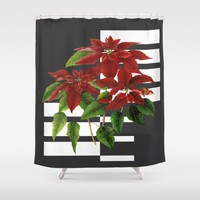 vintage poinsettia on modern background Shower Curtain by Clemm