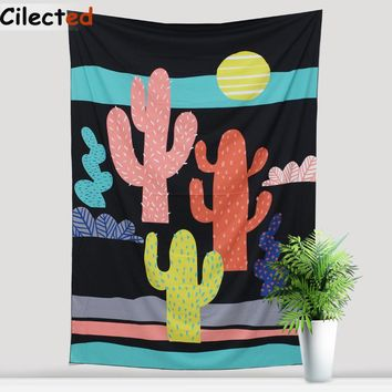 Cilected Cactus Printed Wall Tapestry Home Bohemia Room Decor Sofa Cover Hanging Wall Tapestries Hippie Carpet Drop Shipping