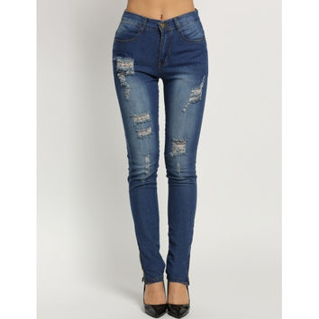 High Waisted Casual Holes Skinny Jeans
