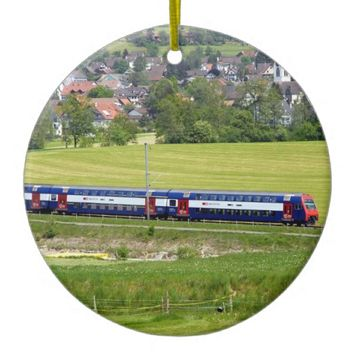 S-Bahn-7z5 train in the country in Europe Ornament
