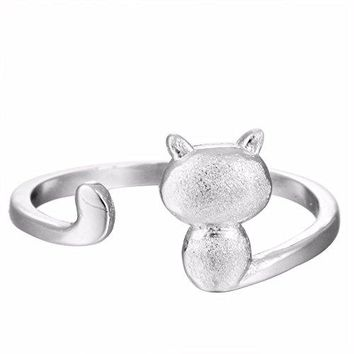 Qiandi 925 Sterling Silver Naughty Cute Cat Animal Ring for Women Men Jewelry Birthday Gift Adjustable Charm