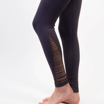 New* High Waist Cage Detail Compression Yoga Leggings - Gray