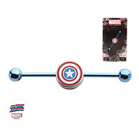 Captain America Marvel Comic Blue Titanium 14g 1 3/8 inch Industrial Barbell Body Jewelry Piercing