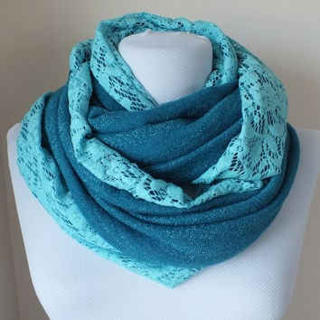infinity scarf, scarves, scarf, turquaz knitwear, wooden buttons and lace scarf, circle,