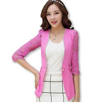 VONE2B5 2016 spring and summer style linen lace suit jacket female three quarter sleeve female blazer coat women jacket FLM1366