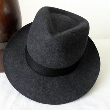 Dark Gray Tweed Wool Felt Fedora - Wide Brim Pure Wool Felt Handmade Fedora Hat - Men Women