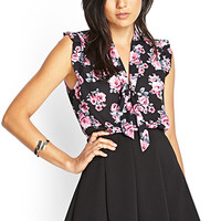 FOREVER 21 Floral Print Tie-Front Blouse Black/Pink