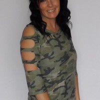Camo Cut Out Sleeve Top