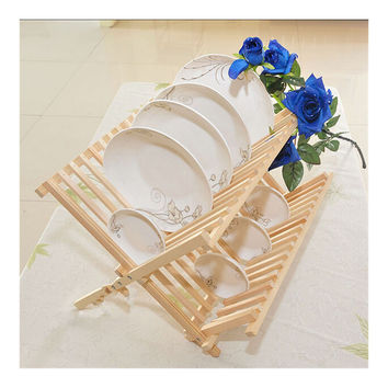 Wooden Foldable Portable Kitchen Drying Rack Bowl Holder Dish Rack