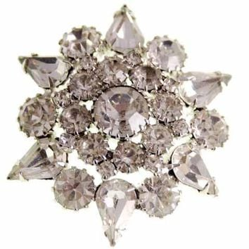 Vintage Weiss Clear Rhinestone Brooch Big Stones Star Pointed  1950s