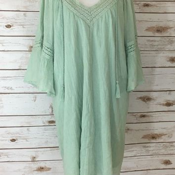 Pre-owned Flying Tomato Cotton Green Mini Dress (Size S)