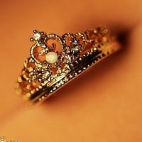 fashion rhinestone crown ring-XZ02