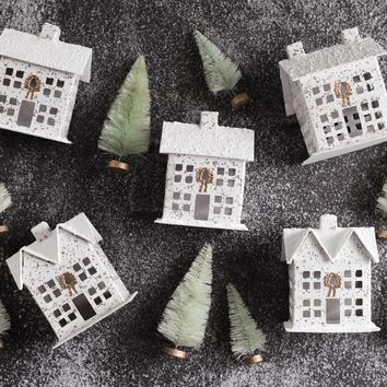 Glitter House Christmas Village - 5-Piece Cardboard House Set with Trees and Snow