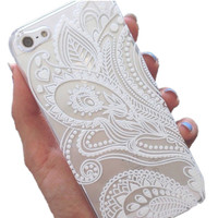 Iphone 5 5s Henna White Floral Paisley Flower Mandala Phone Case