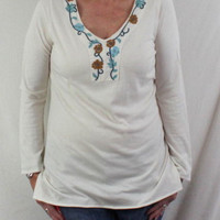 J Jill L size Tunic Top Ivory Floral Embroidered Soft Cotton Modal All Season