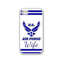 USAF US Airforce Wife Blue iPhone 5 White Case - For iPhone 5/5G White - Designer TPU Case Verizon AT&T Sprint