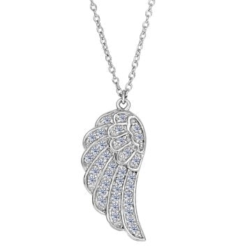 Sterling Silver Angel Wing Pendant With Cz Fashion Necklace - 18 Inch