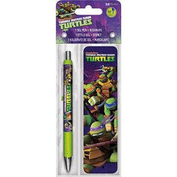Teenage Mutant Ninja Turtles TMNT Gel Pen & Bookmark Set School Writing Gift NEW