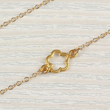 "Chrysanthemum gold necklace, assymetrical necklace, tiny gold flower necklace, bridesmaid necklace, 14 gold filled necklace, ""Chrysanthemum"""