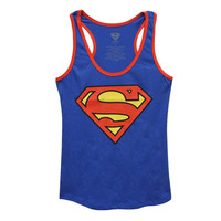 Superman Logo Juniors Racer Tank