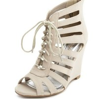 Zip-Back Nubuck Ghillie Wedge: Charlotte Russe