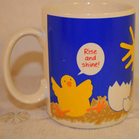 Chicken Egg Sunshine Mug Vintage Have a Sun Shiny Day Cup Rise and Shine Coffee Cup Baby Chicks Mug Hot Tea Cup Kitchen Herb Planter