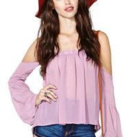 Light Purple Bell Sleeve Off Shoulder Ruffled Top
