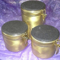 Gold Flip Top Canisters, Gold and Black, Home Decor, Kitchen Storage, Black Glitter Canisters, Decorated Plastic Canisters, Holiday Decor