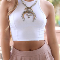 Conch Shell White Fitted Cropped Tank