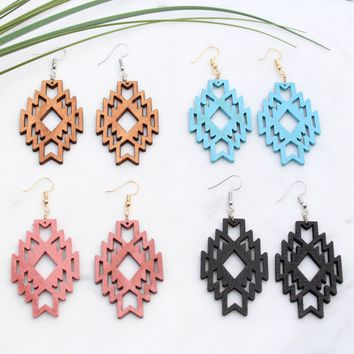 Wooden Carved Boho Earrings
